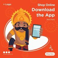 Banner design of shop online best deal template vector
