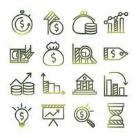 Economy and finance gradient style icon set vector design