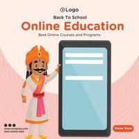 Banner design of online education template vector