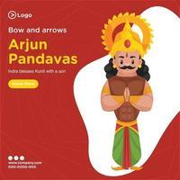 Banner design of arjun pandavas cartoon style template vector