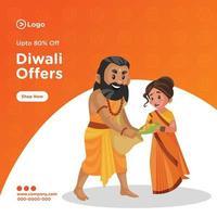 Banner design of happy diwali template vector