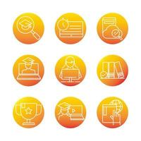 elearning online education and development class set gradient style icon vector