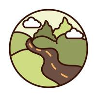 landscape nature valley road mountains line and fill icon vector
