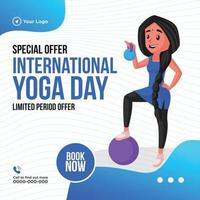 Banner design of limited period offer on international yoga day vector