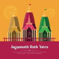 Jagannath rath yatra banner template design vector