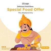 Banner design of special food offer this weekend only cartoon style template vector