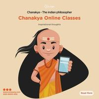 Banner design of chanakya the indian philosopher online classes vector