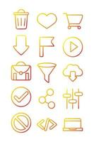 interface internet web technology digital icons set vector