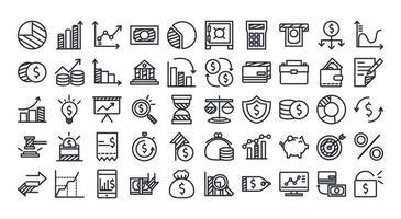 Economy and finance line style icon set vector design