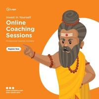 Banner design of online coaching sessions vector
