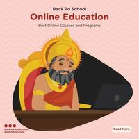 Banner design of best online education courses and programs vector