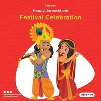 Banner design of happy janmashtami festival celebration vector