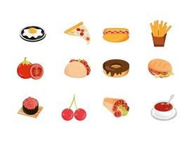food menu restaurant snack ingredient flat style icons set vector