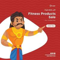 Banner design of fitness products sale for limited time vector
