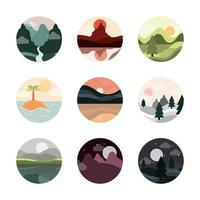 landscape nature mountains ocean and forest in circle icons set flat style icon vector