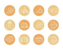 fast delivery cargo shipping commerce business icons set block style icon vector