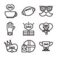 happy fathers day celebration accessories message decoration party icon set line style icon vector