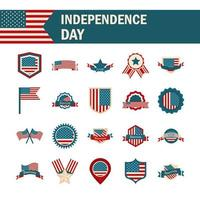 happy independence day american flag national freedom patriotism icons set flat style vector