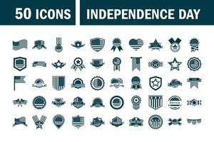 happy independence day american flag national freedom patriotism icons set silhouette style vector