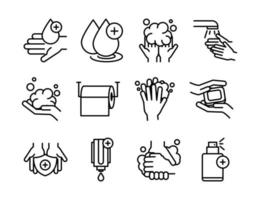 personal hand hygiene disease prevention and health care line style icon vector