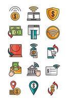 compras de banca móvil o mercado de pagos iconos de comercio electrónico en línea establecen línea y línea de relleno e icono de relleno vector