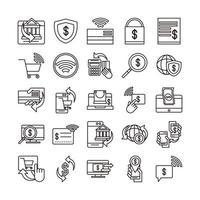 Los iconos de comercio electrónico en línea del mercado de pagos o compras de banca móvil establecen la línea y el icono de estilo de línea de relleno vector