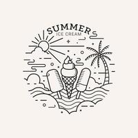 Summer ice cream party flat style with line art vector illustration
