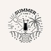 Summer time label flat style with line art vector illustration