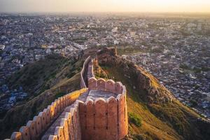 Aerial view of Jaipur from Nahargarh Fort at sunset photo