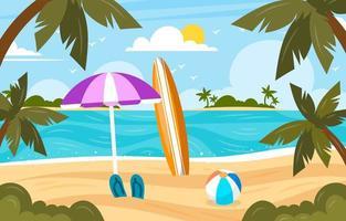 Summer Beach Scenery Background vector