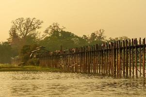Sunset with u bein bridge in Myanmar Burma photo