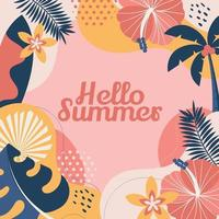 Pink Fresh Themed Floral Summer Background vector