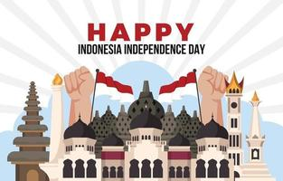 Borobudur Temple and National Monument Side by Side vector