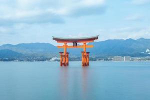 Floating Torii of Itsukushima Shrine at Hiroshima in Japan photo