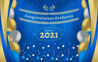 Blue and Gold Graduation Photobooth Background vector