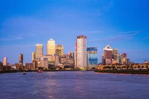 London skyline at Canary Wharf by River Thames photo