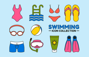 Flat Swimming Icon Collection vector