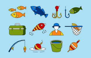 Fishing Icon Set in Flat Style vector