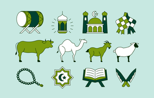 Eid Al Adha Icon Collection in Flat Style vector