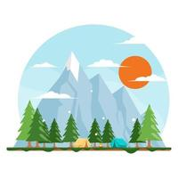 Simple Summer Camp Concept vector