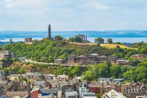 Aerial view of Edinburgh and Calton hill in Scotland, UK photo