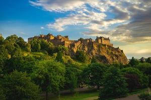 Edinburgh Castle and Princes Park at Edinburgh, Scotland, UK photo
