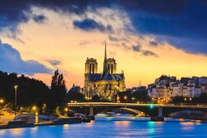 Notre Dame de Paris Cathedral and Seine River in Paris, France photo