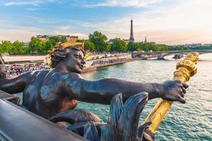 Scenery on Seine River from Alexander III bridge, Paris, France photo