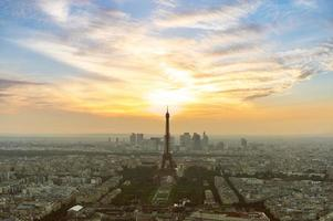 Cityscape of Paris in the dusk with Eiffel tower in France photo