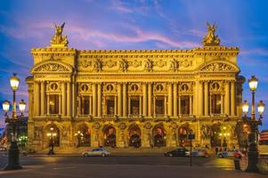 Night view of the Palais Garnier Opera in Paris, France photo