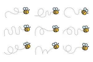ruta de vuelo de la abeja una abeja volando en una línea de puntos la ruta de vuelo de una abeja a la miel vector