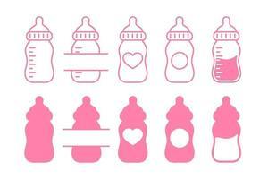 La botella de agua plástica del bebé recién nacido del vector deja espacio para agregar texto aislado en el fondo