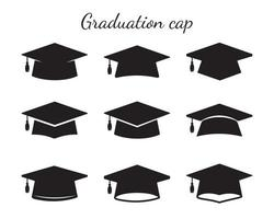 Vector Graduation Hat Collection For students who graduate Isolated on white background