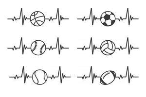 Heartbeat graph Heart pounding when exercising Healthy sports concept vector